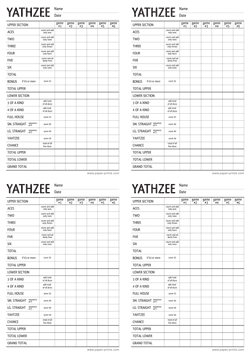 yathzee score card 4x A4 preview