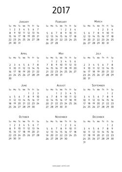 calendar 2017 start sunday A4 preview