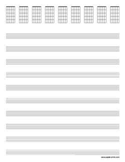 letter staves with guitar chord diagrams preview