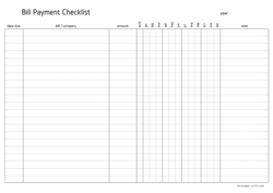 bill payment checklist A4 preview